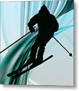 Downhill Skiing On Icy Ribbons Metal Print