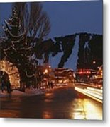 Downtown Jackson Hole At Night Metal Print