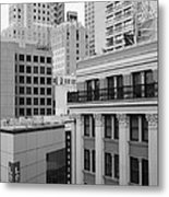 Downtown San Francisco Buildings - 5d19323 - Black And White Metal Print by Wingsdomain Art and Photography