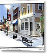 Downtown Waterville Decorated For The Holidays Metal Print