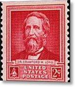 Dr Crawford W Long Postage Stamp Metal Print