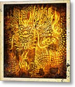 Dragon Painting On Old Paper Metal Print
