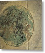 Drain Cover In Cement Metal Print