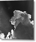 Dramatic Black And White Sunbeams And Storm Clouds Maine Fine Art Print Metal Print