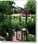 Dreamy French Garden Arbor And Gate Metal Print by Kathy Fornal