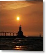 Dreamy Sunset At The Lighthouse Metal Print
