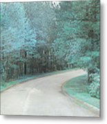 Dreamy Teal Aqua Blue Nature Trees Metal Print