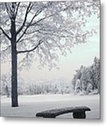 Dreamy White Blue Infrared Michigan Landscape Metal Print by Kathy Fornal