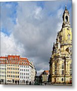 Dresden Church Of Our Lady And New Market Metal Print