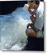 Drinking From A Stream Metal Print by Alan Sirulnikoff