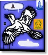 Drippy Bird And Cloud Metal Print