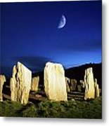 Drombeg, County Cork, Ireland Moon Over Metal Print
