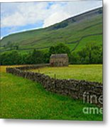 Dry Stone Walls And Stone Barn Metal Print