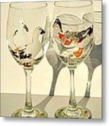 Ducks On Wineglasses Metal Print