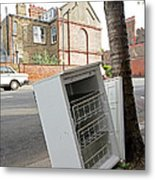 Dumped Refrigerator Metal Print by Carlos Dominguez