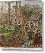 Dutch & Native American Trade Metal Print