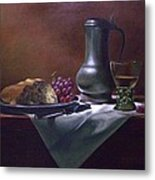 Dutch Roemer With Bread And Grapes Metal Print