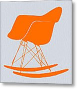 Eames Rocking Chair Orange Metal Print by Naxart Studio