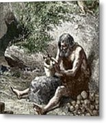 Early Human Making Pottery Metal Print by Sheila Terry