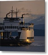Early Morning Ferry Leaves Seattle Metal Print
