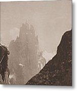 Early Mountaineering In The Alps Metal Print by Georges Tairraz