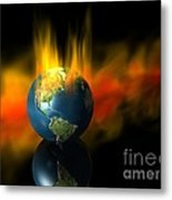 Earth And Oil Fire Metal Print