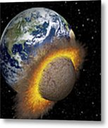 Earth Colliding With A Mars-sized Metal Print