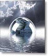 Earth Globe Reflection Metal Print