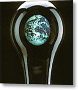 Earth In Light Bulb  Metal Print