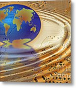 Earth In The Printed Circuit Metal Print