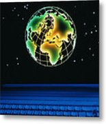 Earth Over Computer Keyboard Metal Print