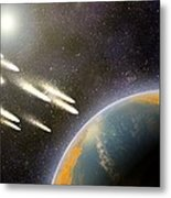 Earth's Cometary Bombardment, Artwork Metal Print by Equinox Graphics