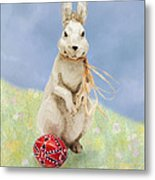 Easter Bunny With A Painted Egg Metal Print