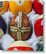 Easter Egg Among Pool Balls Metal Print
