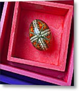 Easter Egg In Pink Box Metal Print