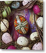 Easter Egg With Wreath Metal Print