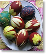 Easter Eggs. Plant Print And Wax Drawing. Metal Print