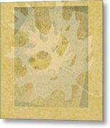 Ecru Leaf Metal Print