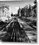 Edinburghs New Tram System Under Construction In St Andrews Square Scotland Uk United Kingdom Metal Print
