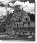 Edzna Pyramid Climber Campeche Mexico Metal Print