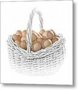 Eggs In A Woven Basket No.0064 Metal Print