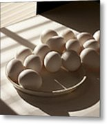 Eggs Lit Through Venetian Blinds Metal Print