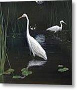 Egrets In The Moonlight Metal Print