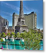 Eiffel Tower And Reflecting Pond Metal Print