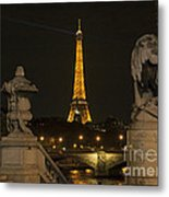 Eiffel Tower And The Seine River From Pont Alexandre At Night Metal Print