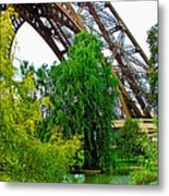 Eiffel Tower Garden Metal Print