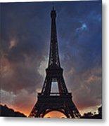 Eiffel Tower Sunset Metal Print