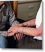 Elderly Couple Holding Hands Metal Print