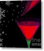 Electric Red Cocktail With Snowflakes Metal Print
