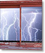 Electric Skies Red Barn Picture Window Frame Photo Art  Metal Print